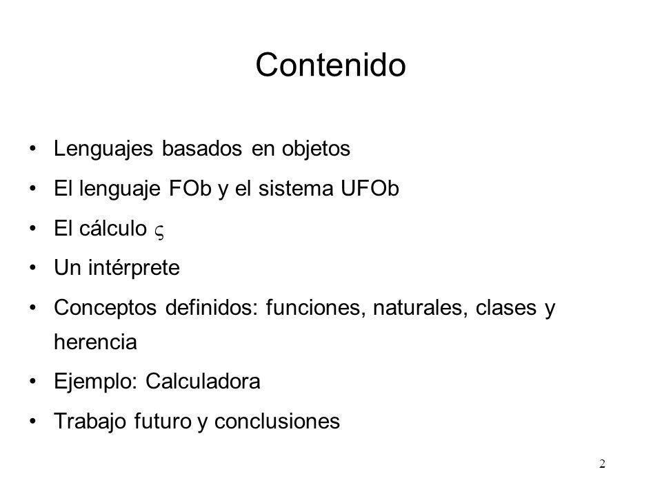 Contenido Lenguajes basados en objetos