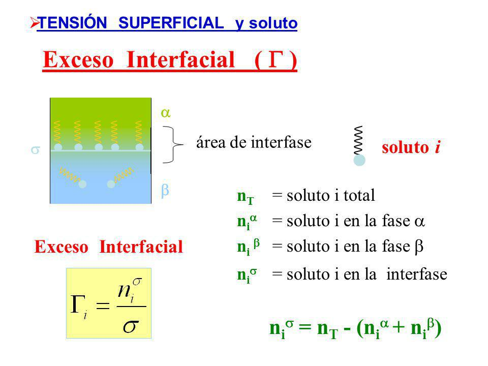TENSIÓN SUPERFICIAL y soluto Exceso Interfacial (  )