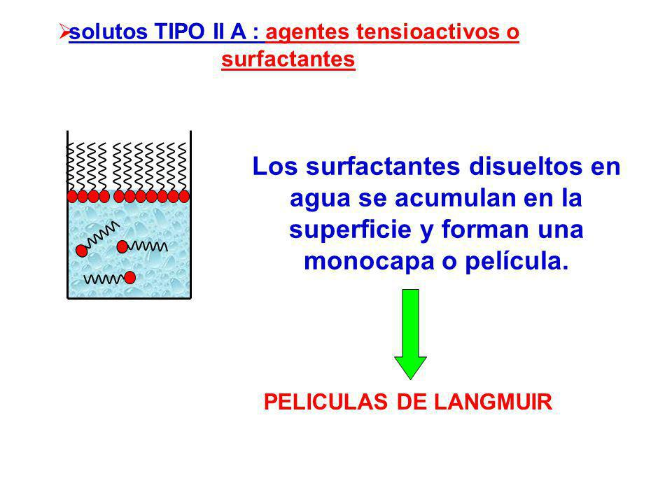 solutos TIPO II A : agentes tensioactivos o surfactantes