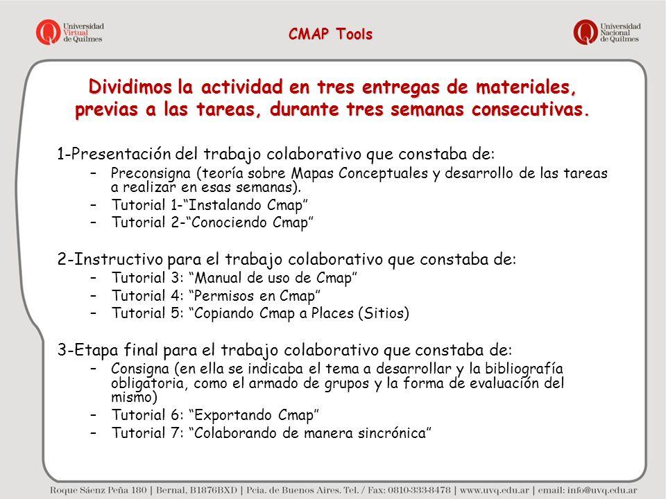 CMAP Tools Dividimos la actividad en tres entregas de materiales, previas a las tareas, durante tres semanas consecutivas.