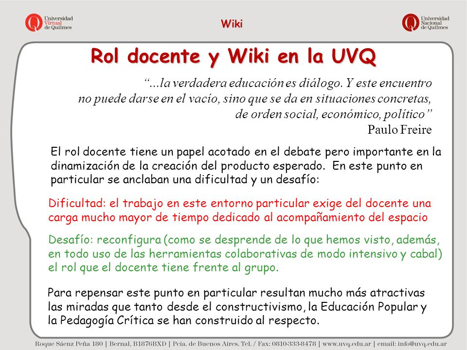 Rol docente y Wiki en la UVQ