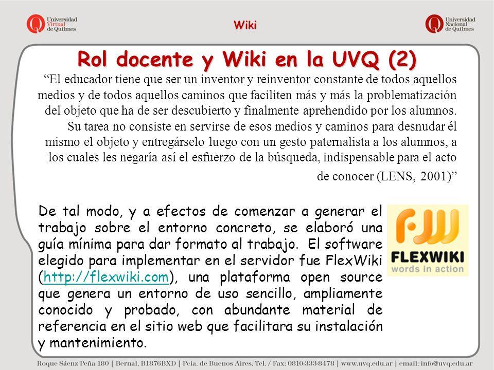 Rol docente y Wiki en la UVQ (2)
