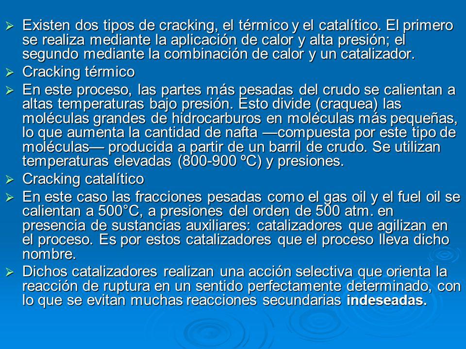 Existen dos tipos de cracking, el térmico y el catalítico