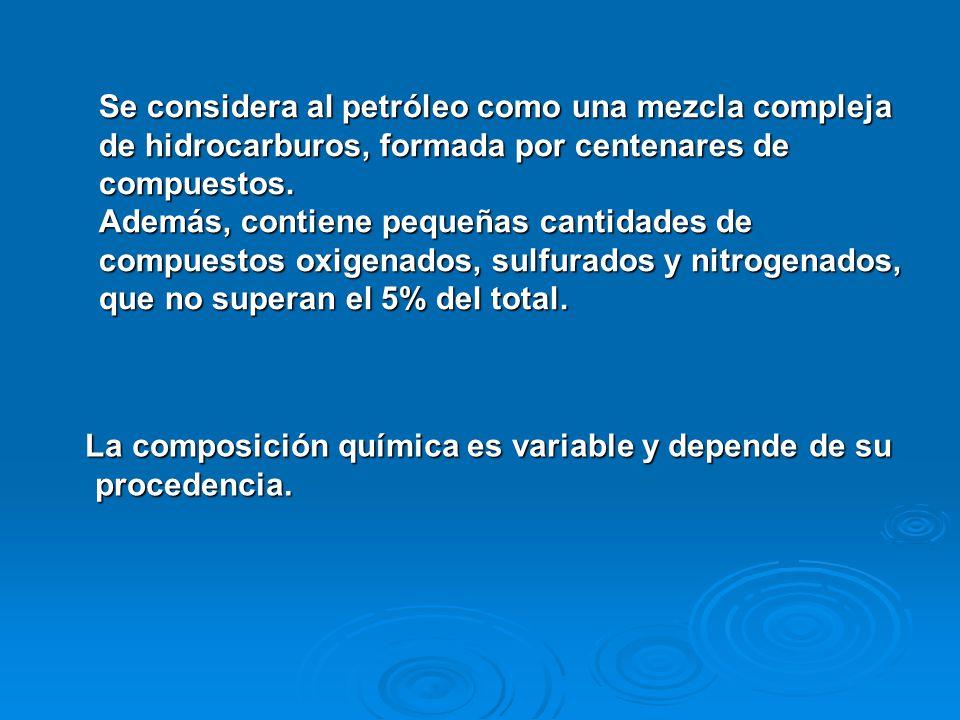 Se considera al petróleo como una mezcla compleja de hidrocarburos, formada por centenares de compuestos. Además, contiene pequeñas cantidades de compuestos oxigenados, sulfurados y nitrogenados, que no superan el 5% del total.
