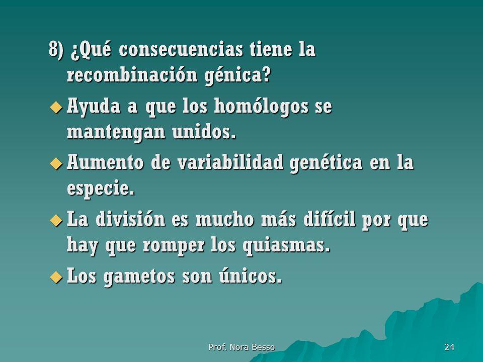 8) ¿Qué consecuencias tiene la recombinación génica