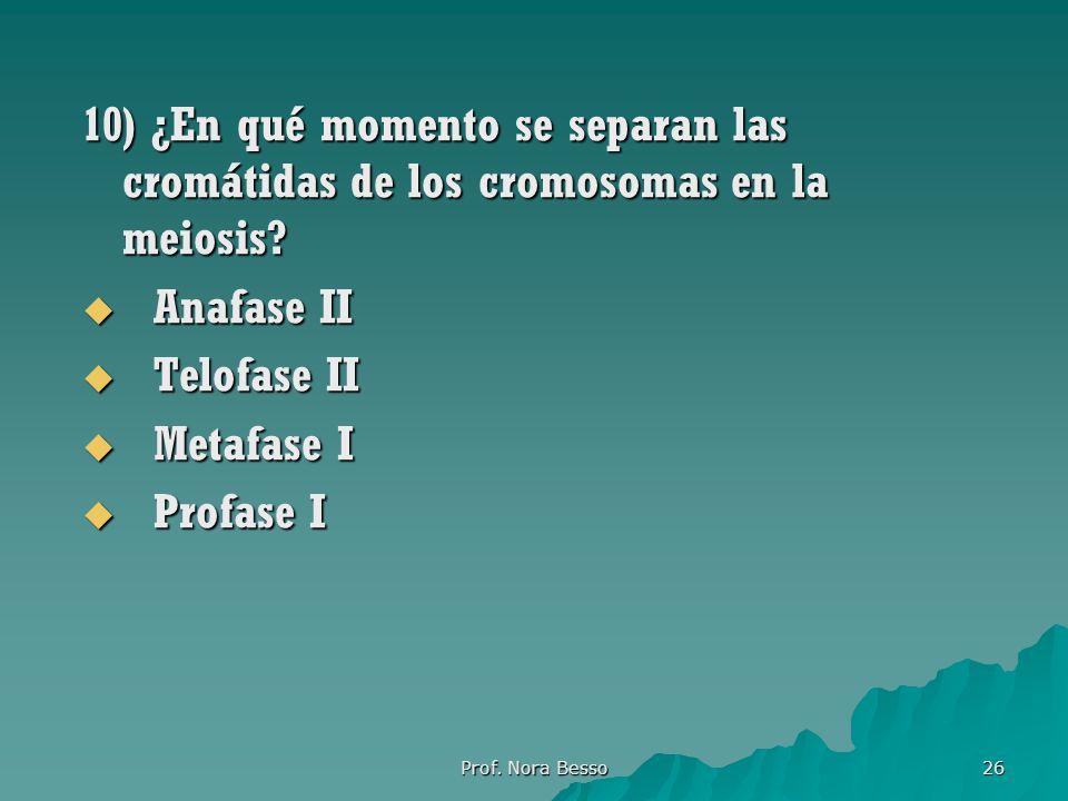 10) ¿En qué momento se separan las cromátidas de los cromosomas en la meiosis