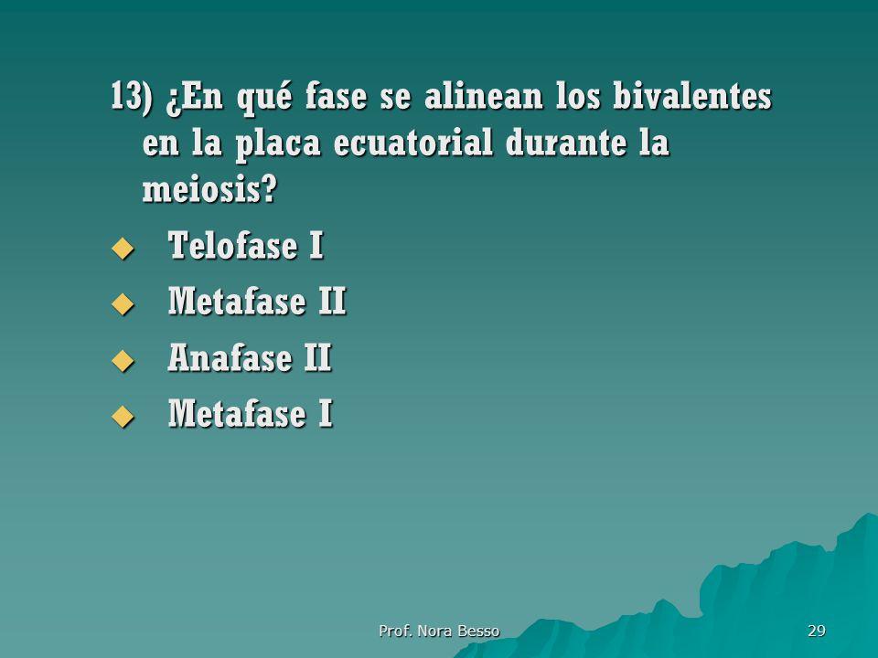 13) ¿En qué fase se alinean los bivalentes en la placa ecuatorial durante la meiosis