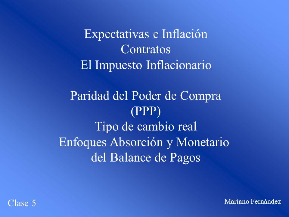Expectativas e Inflación Contratos El Impuesto Inflacionario