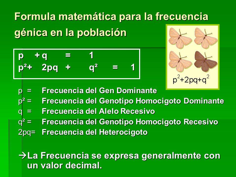 Formula matemática para la frecuencia génica en la población