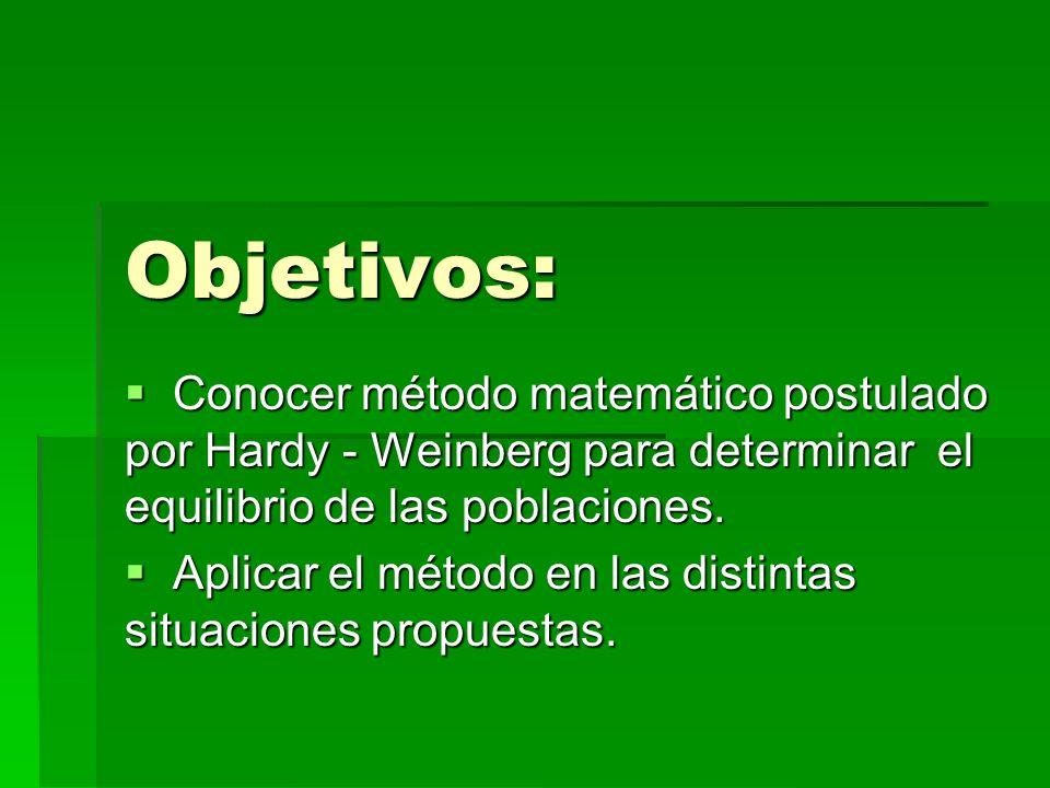 Objetivos:Conocer método matemático postulado por Hardy - Weinberg para determinar el equilibrio de las poblaciones.