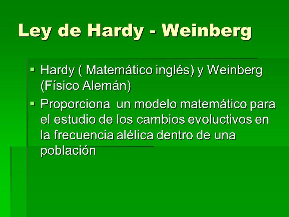 Ley de Hardy - WeinbergHardy ( Matemático inglés) y Weinberg (Físico Alemán)