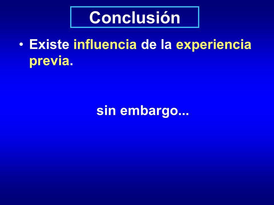 Conclusión Existe influencia de la experiencia previa. sin embargo...