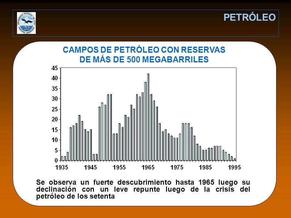 CAMPOS DE PETRÓLEO CON RESERVAS DE MÁS DE 500 MEGABARRILES
