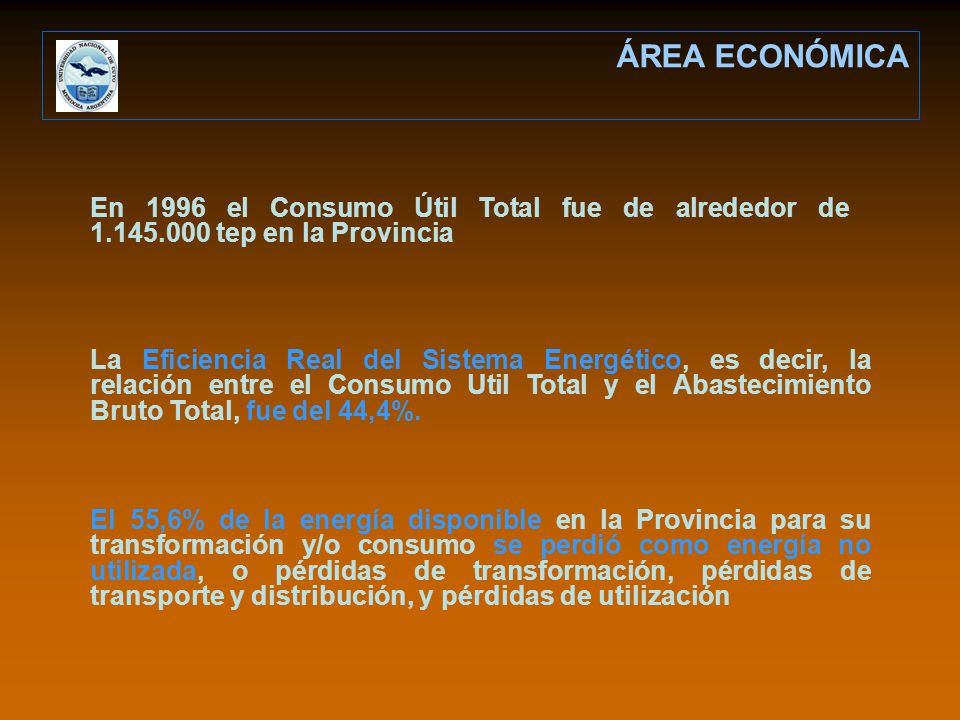 ÁREA ECONÓMICA En 1996 el Consumo Útil Total fue de alrededor de 1.145.000 tep en la Provincia.