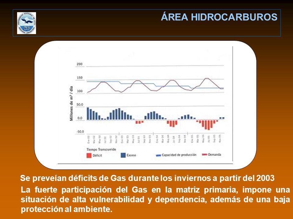 ÁREA HIDROCARBUROS Se preveían déficits de Gas durante los inviernos a partir del 2003.