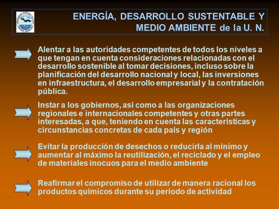 ENERGÍA, DESARROLLO SUSTENTABLE Y MEDIO AMBIENTE de la U. N.