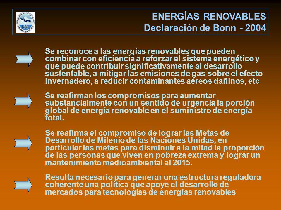 ENERGÍAS RENOVABLES Declaración de Bonn - 2004