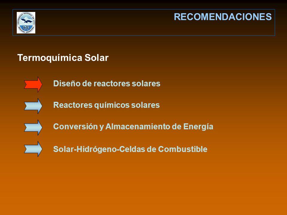 RECOMENDACIONES Termoquímica Solar Diseño de reactores solares