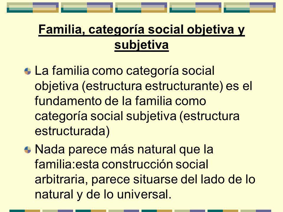 Familia, categoría social objetiva y subjetiva