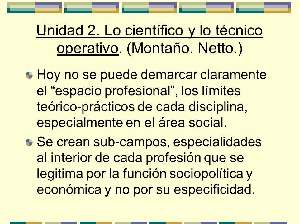Unidad 2. Lo científico y lo técnico operativo. (Montaño. Netto.)