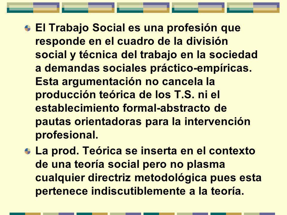 El Trabajo Social es una profesión que responde en el cuadro de la división social y técnica del trabajo en la sociedad a demandas sociales práctico-empíricas. Esta argumentación no cancela la producción teórica de los T.S. ni el establecimiento formal-abstracto de pautas orientadoras para la intervención profesional.