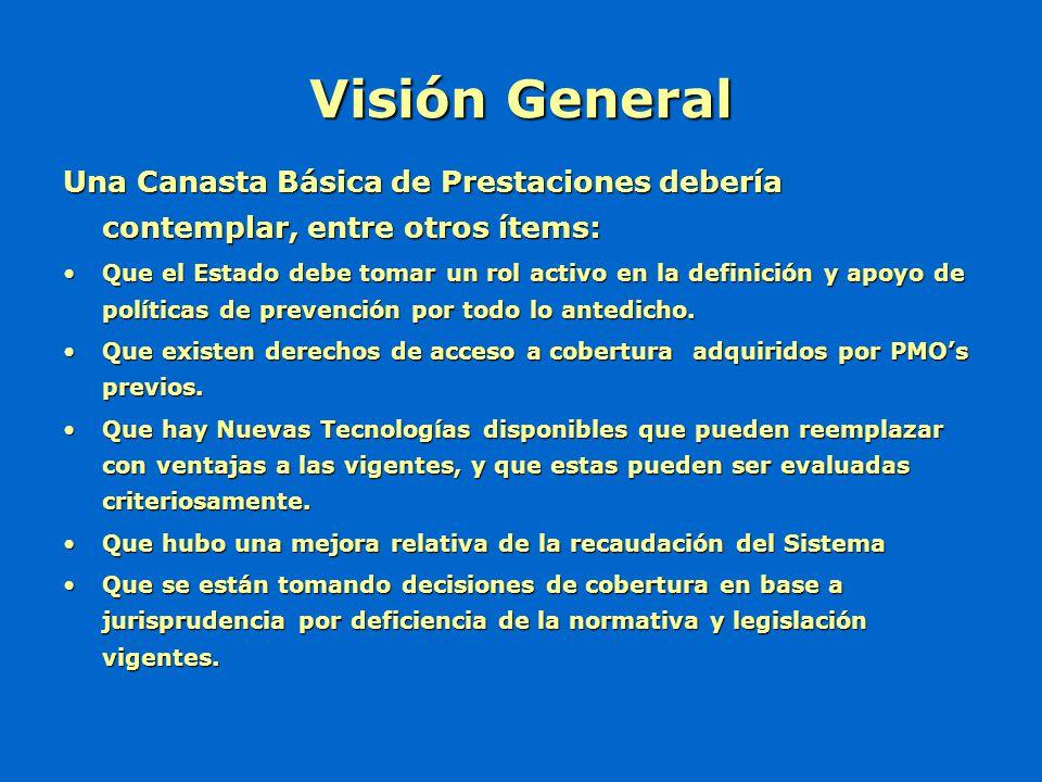 Visión General Una Canasta Básica de Prestaciones debería contemplar, entre otros ítems: