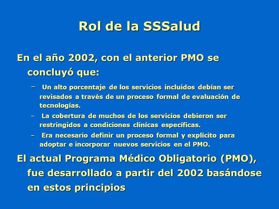Rol de la SSSalud En el año 2002, con el anterior PMO se concluyó que: