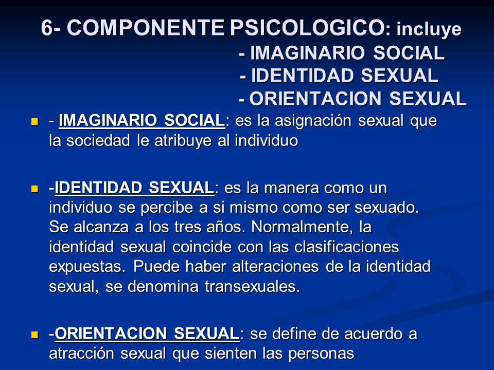 6- COMPONENTE PSICOLOGICO: incluye - IMAGINARIO SOCIAL - IDENTIDAD SEXUAL - ORIENTACION SEXUAL