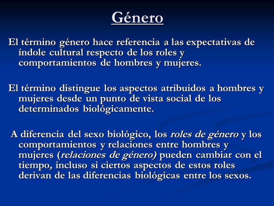 Género El término género hace referencia a las expectativas de índole cultural respecto de los roles y comportamientos de hombres y mujeres.