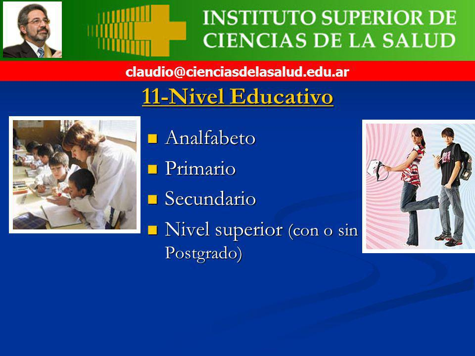 11-Nivel Educativo Analfabeto Primario Secundario