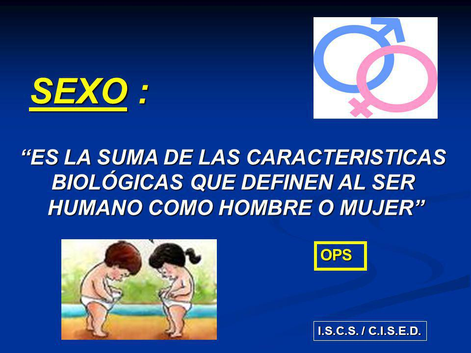SEXO : ES LA SUMA DE LAS CARACTERISTICAS