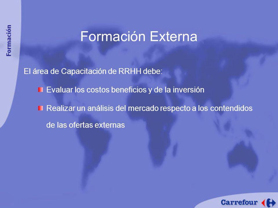 Formación Externa El área de Capacitación de RRHH debe: