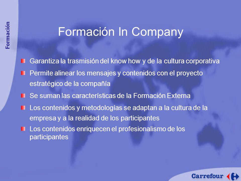 Formación In Company Formación. Garantiza la trasmisión del know how y de la cultura corporativa.