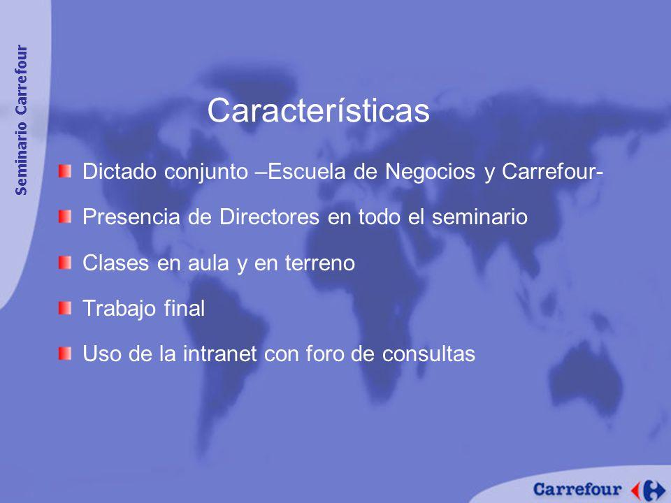 Características Dictado conjunto –Escuela de Negocios y Carrefour-
