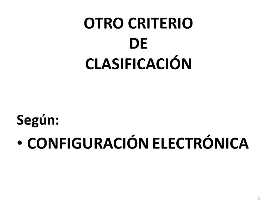 OTRO CRITERIO DE CLASIFICACIÓN
