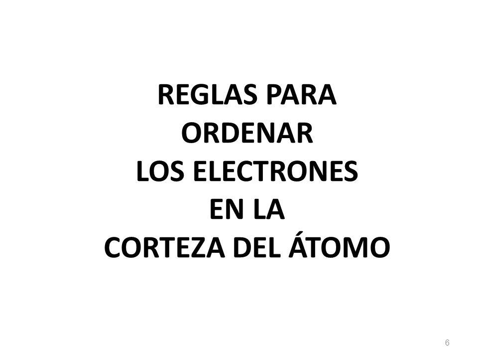 REGLAS PARA ORDENAR LOS ELECTRONES EN LA CORTEZA DEL ÁTOMO