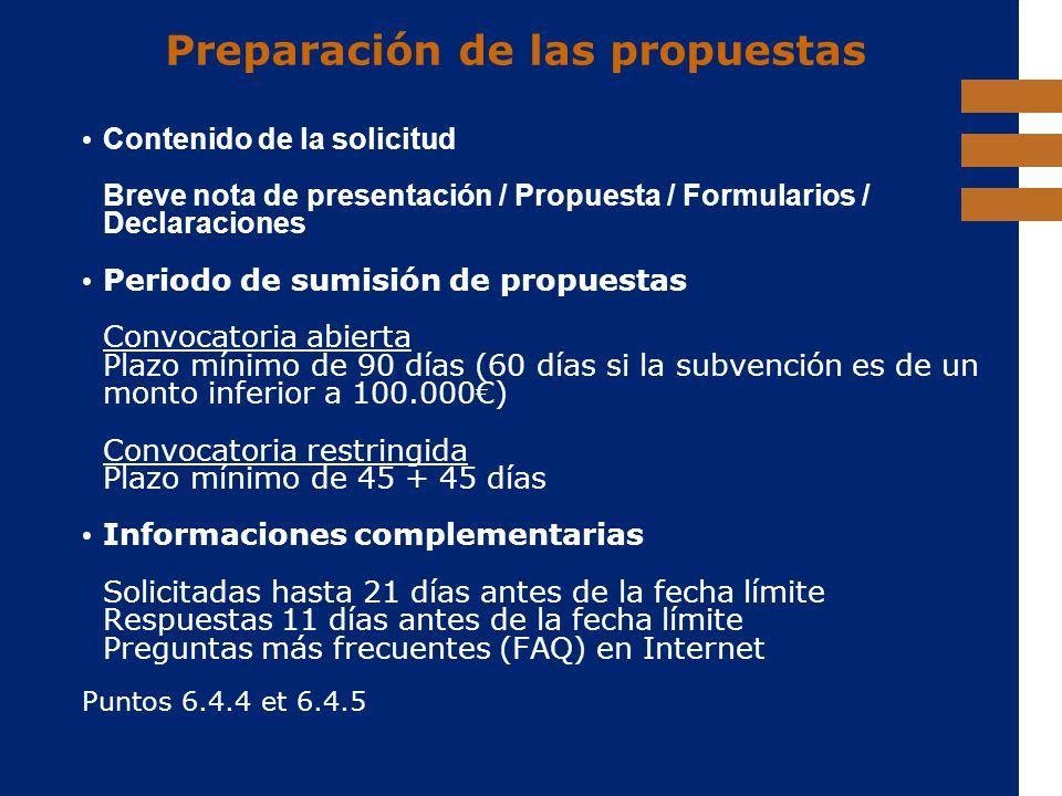 Preparación de las propuestas