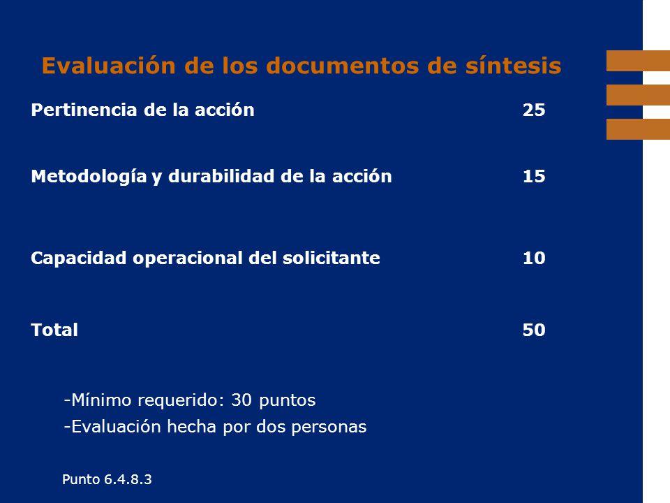 Evaluación de los documentos de síntesis