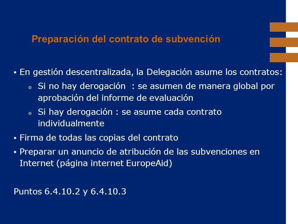 Preparación del contrato de subvención