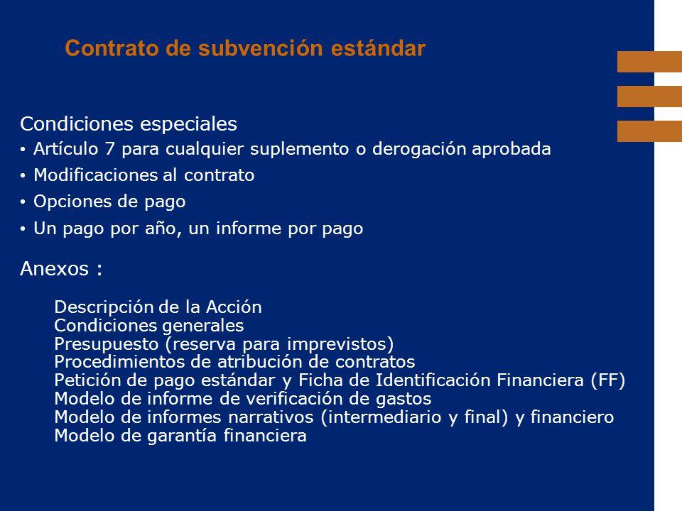 Contrato de subvención estándar