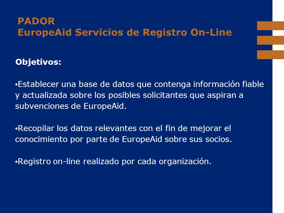 PADOR EuropeAid Servicios de Registro On-Line