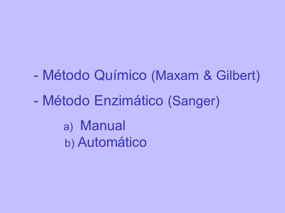 - Método Químico (Maxam & Gilbert) - Método Enzimático (Sanger)