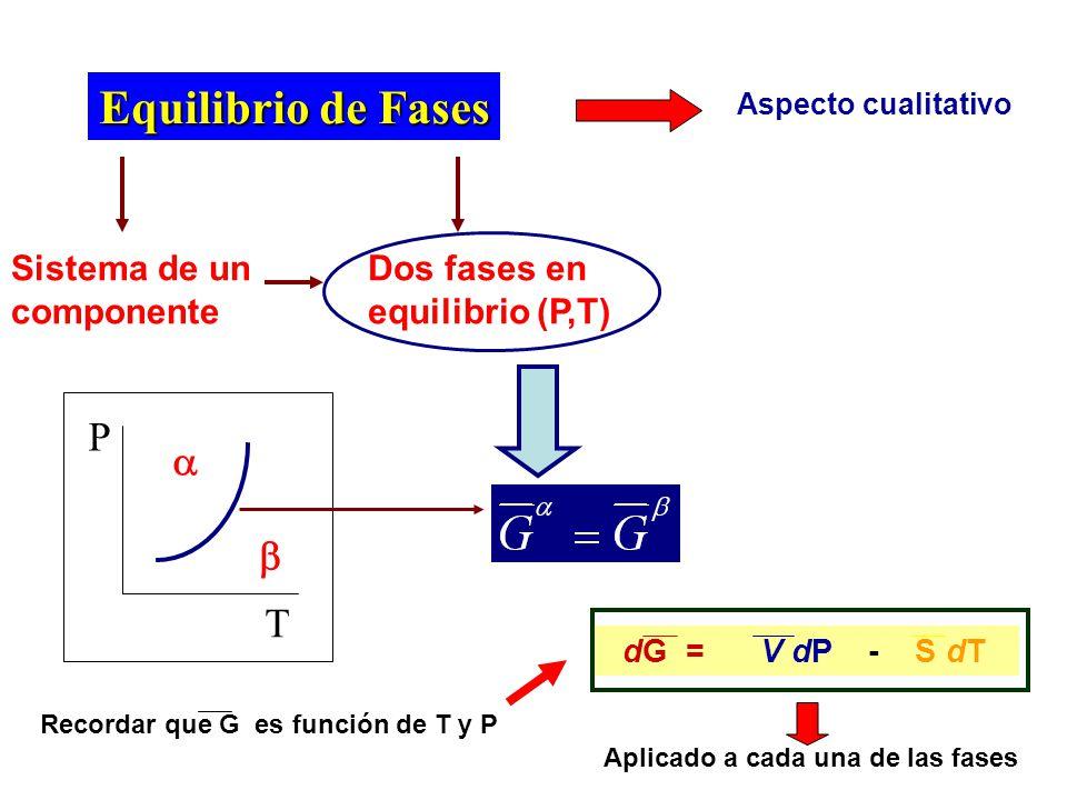 Equilibrio de Fases  P  T Sistema de un componente