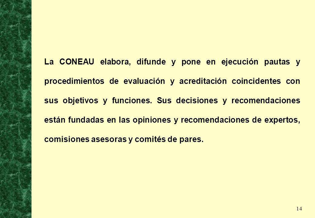 La CONEAU elabora, difunde y pone en ejecución pautas y procedimientos de evaluación y acreditación coincidentes con sus objetivos y funciones.