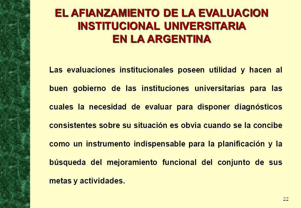 EL AFIANZAMIENTO DE LA EVALUACION INSTITUCIONAL UNIVERSITARIA