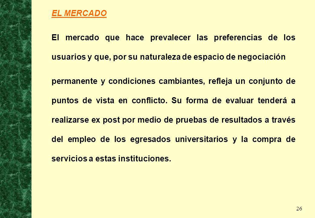 EL MERCADO El mercado que hace prevalecer las preferencias de los usuarios y que, por su naturaleza de espacio de negociación.