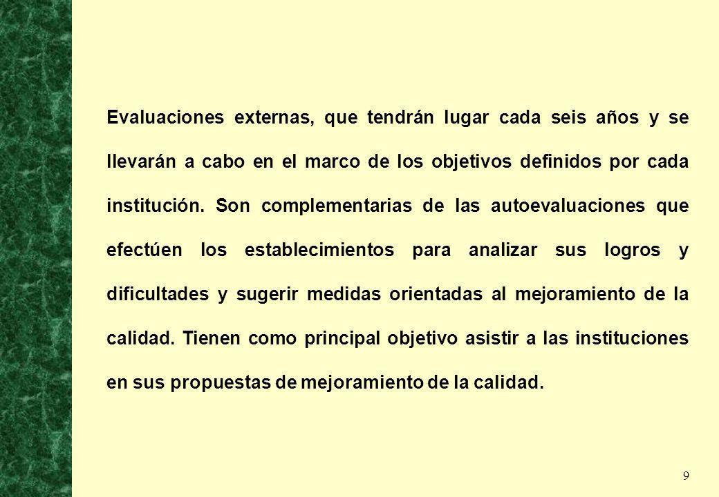 Evaluaciones externas, que tendrán lugar cada seis años y se llevarán a cabo en el marco de los objetivos definidos por cada institución.