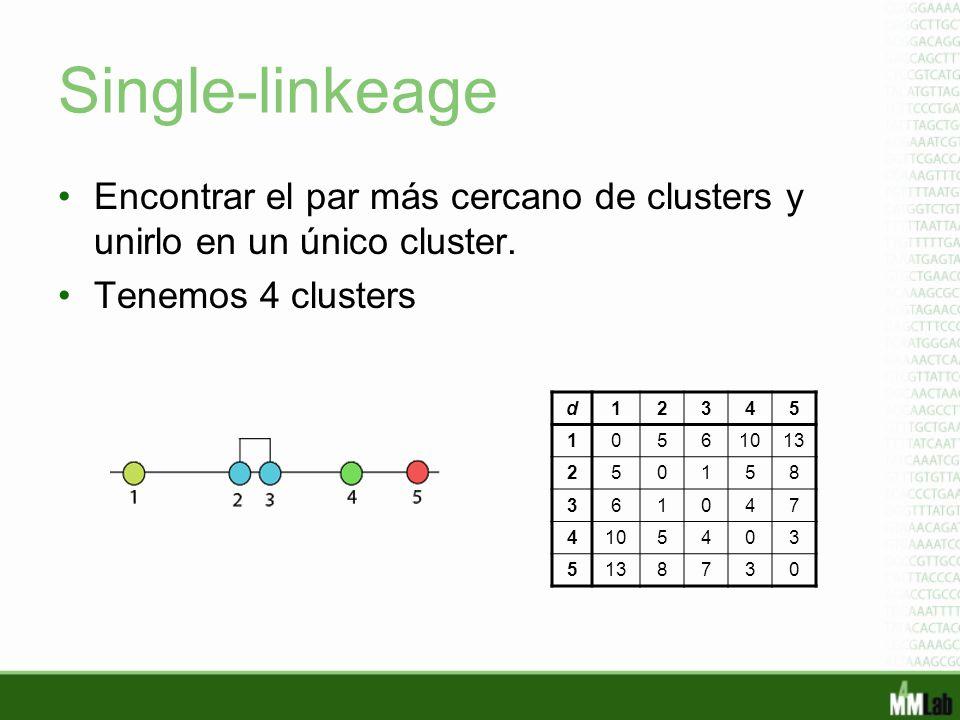 Single-linkeage Encontrar el par más cercano de clusters y unirlo en un único cluster. Tenemos 4 clusters.