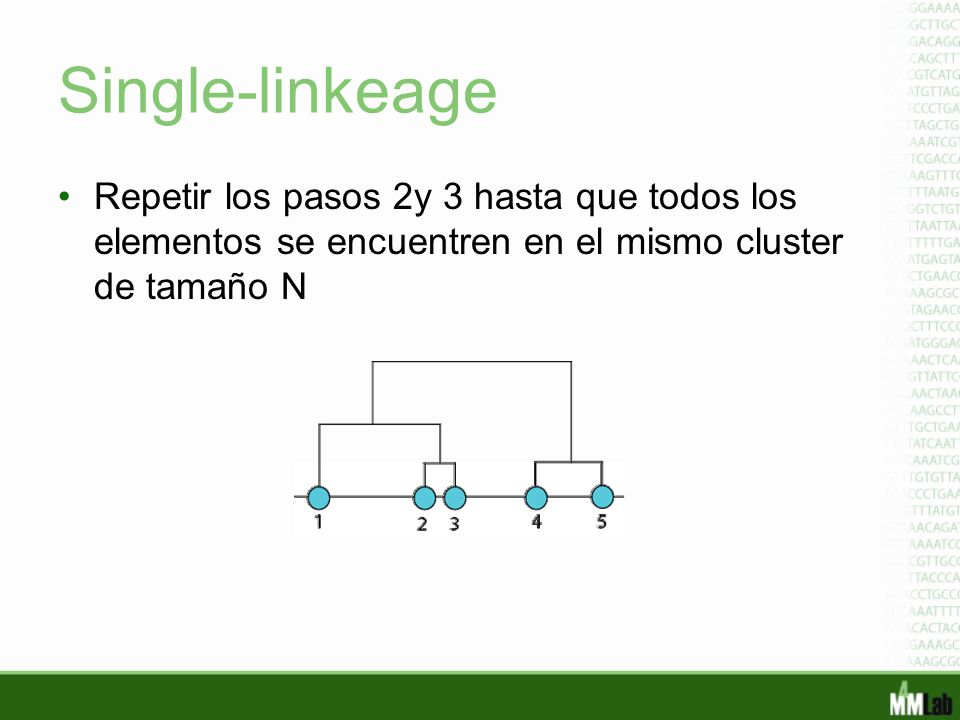 Single-linkeage Repetir los pasos 2y 3 hasta que todos los elementos se encuentren en el mismo cluster de tamaño N.