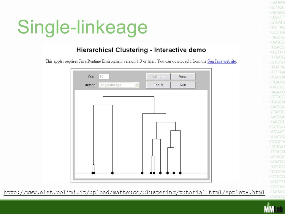 Single-linkeage http://www.elet.polimi.it/upload/matteucc/Clustering/tutorial_html/AppletH.html